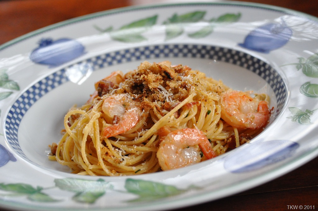 shrimp and pancetta spaghetti