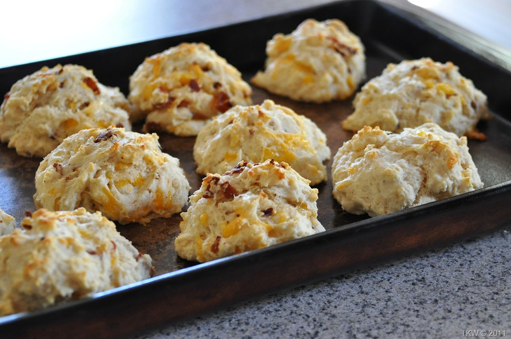 Sour Cream, Bacon and Cheddar Drop Biscuits