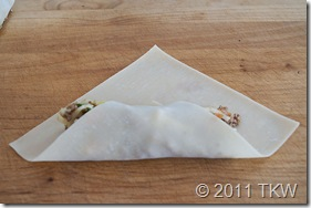 5Spice Egg Rolls wrapper fold 1