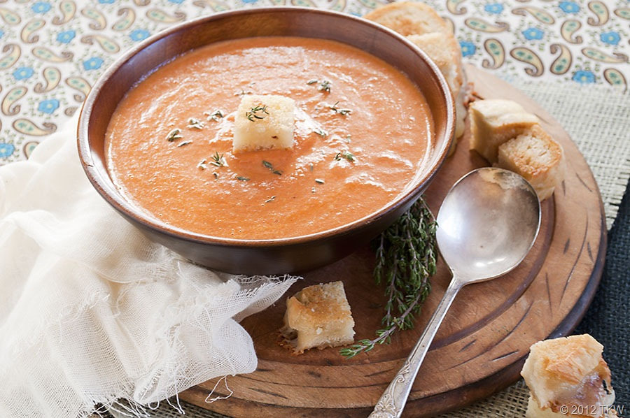 Roasted Garlic Sundried Tomato Soup with Grilled Truffle Cheese ...