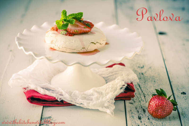 Pavlova with Starwberries and Mint ©Rhonda Adkins 2013 www.thekitchenwitchblog.com