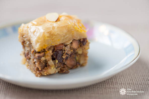 Orange and Tart Cherry Baklava www.thekitchenwitchblog.com ©RhondaAdkinsPhotography